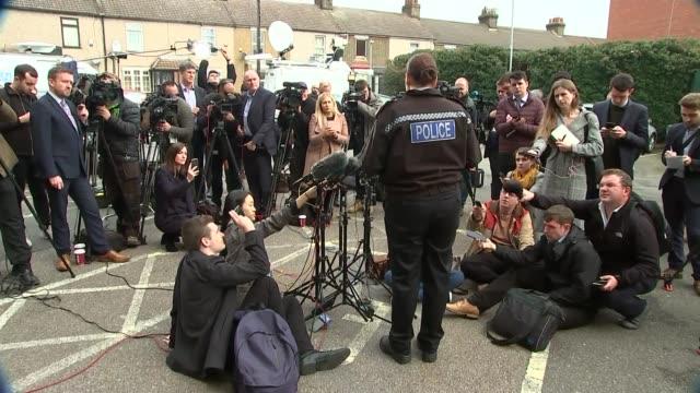 police press conference; england: essex: grays: ext cutaways pippa mills reading statement to press - エセックス州点の映像素材/bロール