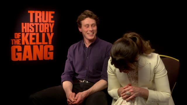 stockvideo's en b-roll-footage met interview essie davis isn't aware matrix 4 is happening george mackay asking if she's part of the movie essie adding 'she's very happy for everyone'... - george mackay
