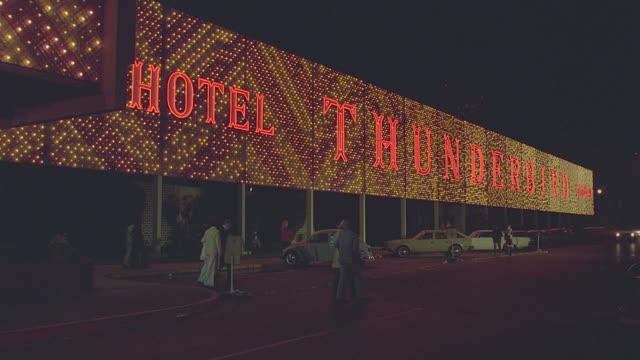 est. thunderbird hotel - night - las vegas stock videos & royalty-free footage