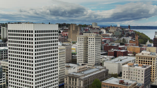 establishing aerial shot of downtown tacoma and commencement bay - pierce county washington state stock videos & royalty-free footage