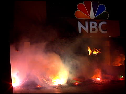 establishing at the asteroid hits nbc at nbc studios in burbank california on february 12 1997 - burbank stock-videos und b-roll-filmmaterial