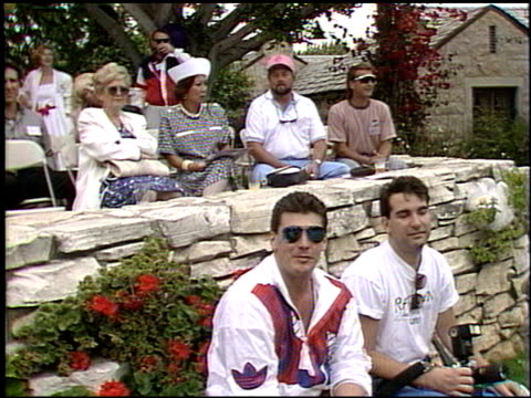 establishing at the playboy tennis event at playboy mansion in los angeles california on june 3 1989 - playboy mansion stock videos & royalty-free footage