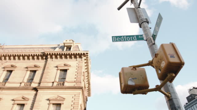 Establishing dolly shot looking up a Bedford Avenue Street sign.