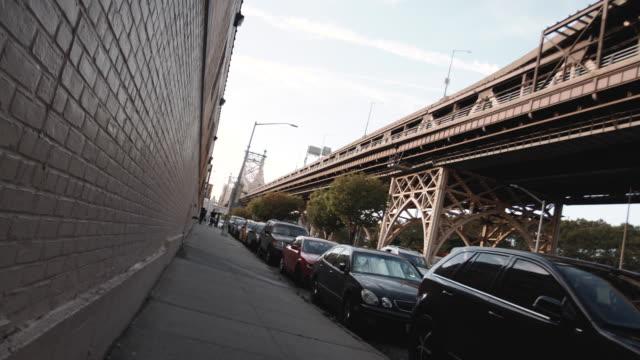 Establishing dolly shot of NYC's Queensboro Bridge