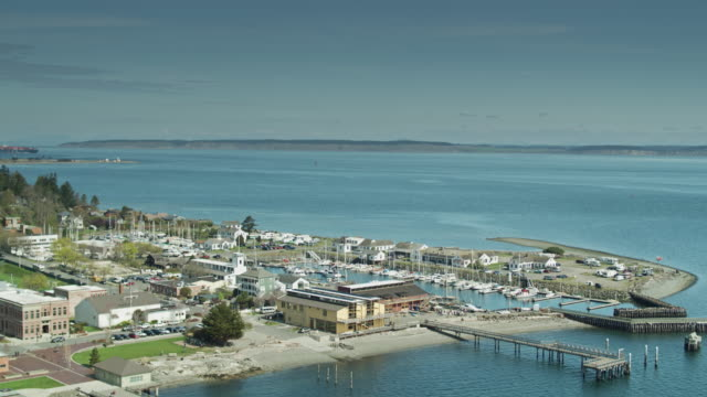 Establishing Drone Shot of Port Townsend, WA, with View of Whidbey Island and Cargo Ship