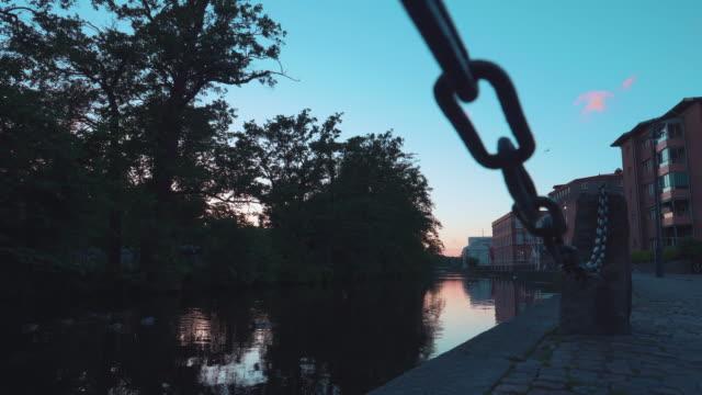 Establishing Evening shot of River in Gothenburg