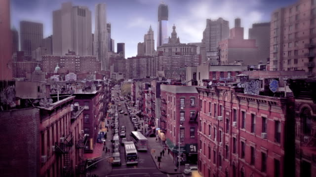 Establishing high angle shot of the Chinatown district of New York City.