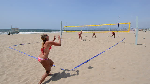 WS Establishing master shot of female beach volleyball players, showing the whole court,  serving and playing.