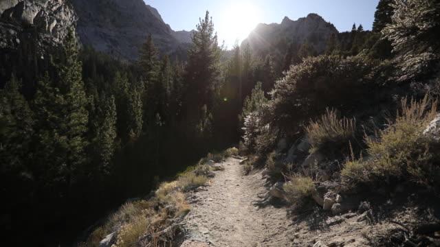 pov establishing shot along a hiking trail on mount whitney in california - californian sierra nevada stock videos & royalty-free footage