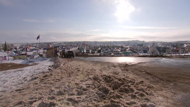 establishing shot and pan of the standing rock indian reservation - north american tribal culture stock videos & royalty-free footage