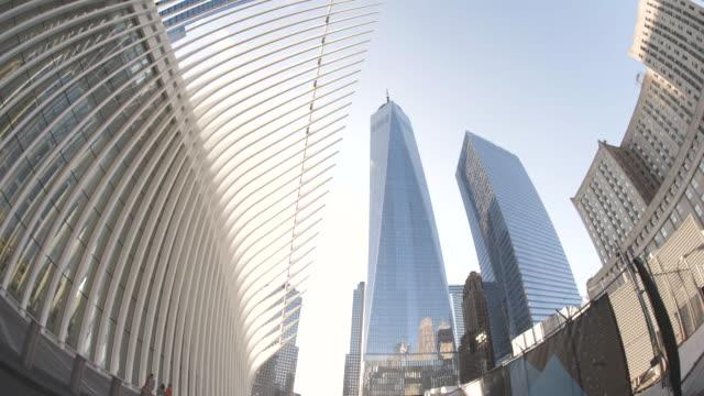 establishing shot looking up at new york city's world trade center - september 11 2001 attacks stock videos and b-roll footage