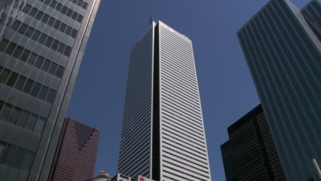 Establishing shot looking up to the BMO tower in Toronto Canada
