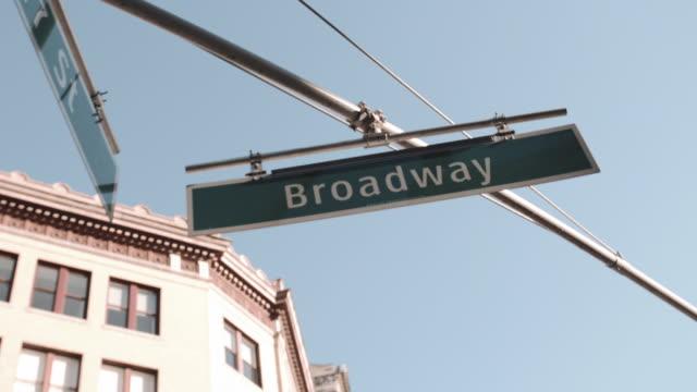 Establishing shot of a Broadway street sign in New York City