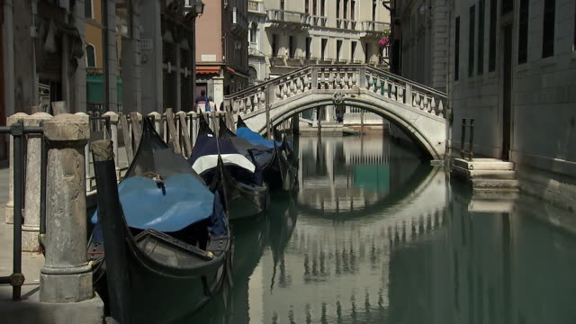establishing shot of an empty canal in venice italy during the coronavirus pandemic - business or economy or employment and labor or financial market or finance or agriculture video stock e b–roll