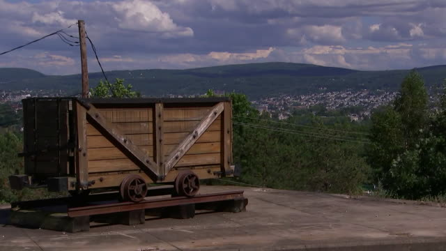 establishing shot of an old coal mine car in scranton, pennsylvania. - business or economy or employment and labor or financial market or finance or agriculture stock videos & royalty-free footage