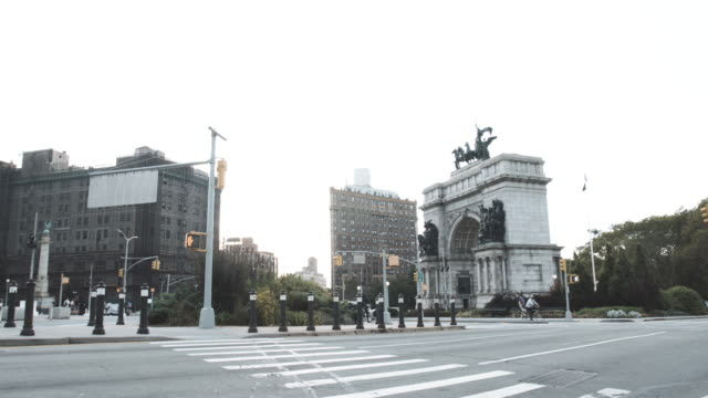 establishing shot of brooklyn's grand army plaza on a summer afternoon - 4k - wide stock videos and b-roll footage