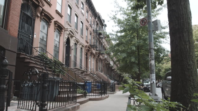 Establishing shot of Brownstone row houses in Fort Greene, Brooklyn