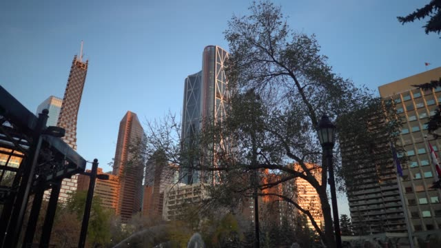 establishing shot of calgary skyline taken from olympic plaza - downtown stock videos & royalty-free footage