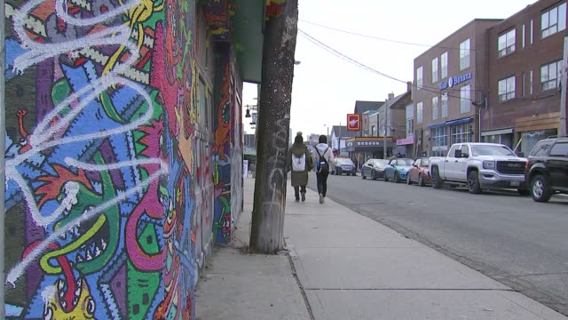 establishing shot of graffiti on street in kensington market. - music or celebrities or fashion or film industry or film premiere or youth culture or novelty item or vacations stock videos & royalty-free footage