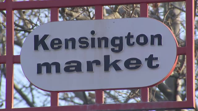 establishing shot of kensington market sign. - music or celebrities or fashion or film industry or film premiere or youth culture or novelty item or vacations stock videos & royalty-free footage