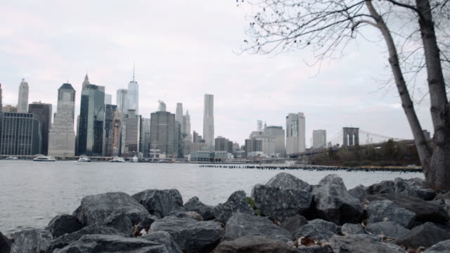 Establishing shot of New York City on a gloomy afternoon.