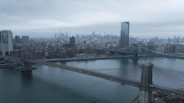 establishing shot of new york city on a gloomy night - international landmark stock videos & royalty-free footage
