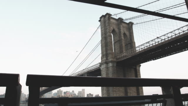 Establishing shot of New York City's Brooklyn Bridge and East River - 4k