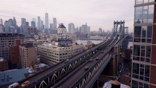 Establishing shot of New York City's Manhattan Bridge