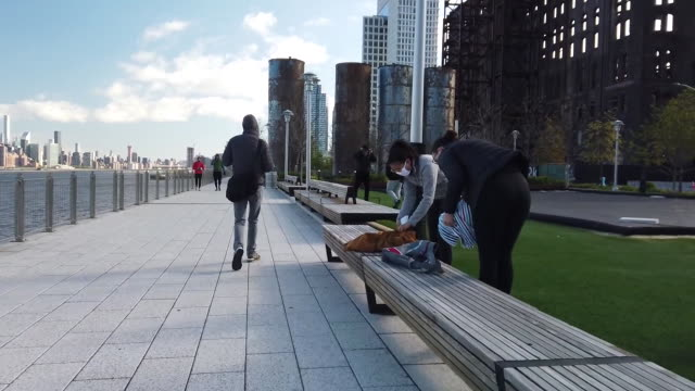 establishing shot of people exercising during the coronavirus pandemic at domino park in brooklyn, new york city. - healthcare and medicine or illness or food and drink or fitness or exercise or wellbeing stock videos & royalty-free footage
