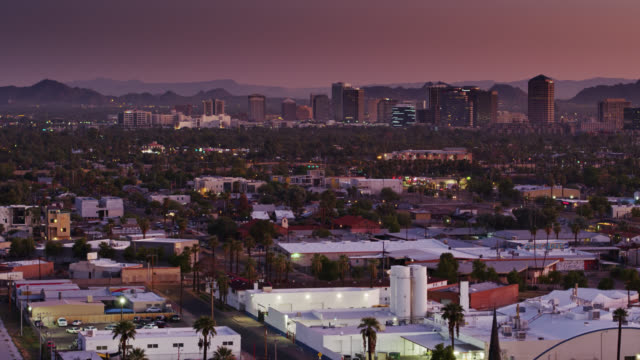 establishing shot of phoenix early in the morning - arizona stock videos & royalty-free footage