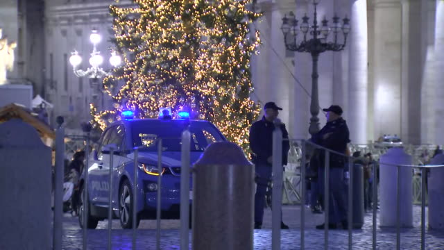 establishing shot of police car in st peter's square - crime or recreational drug or prison or legal trial video stock e b–roll