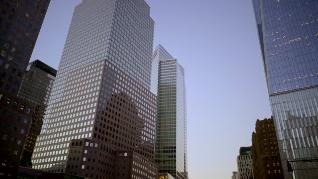 Establishing Shot of Skyscraper Buildings. Architecture in Modern Metropolis. Symbolizing Global Business, Wealth, Growth and Trade.