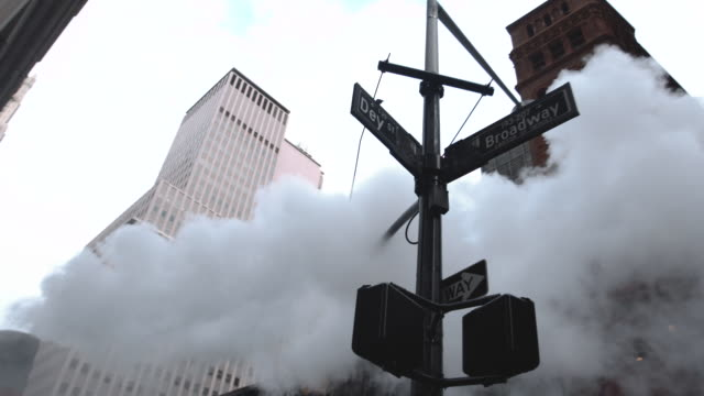 establishing shot of steam from the sewer on broadway in new york city. - western script stock videos & royalty-free footage
