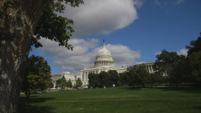 establishing shot of the capitol building and lawn - capitol building washington dc stock videos and b-roll footage