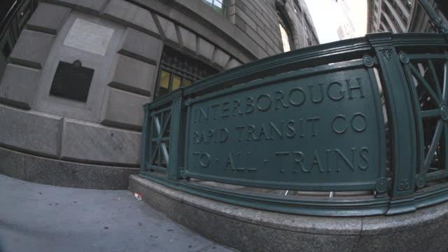 Establishing shot of the entrance to a New York City subway station