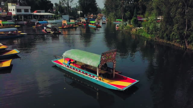 Establishing top shot of Xochimilco