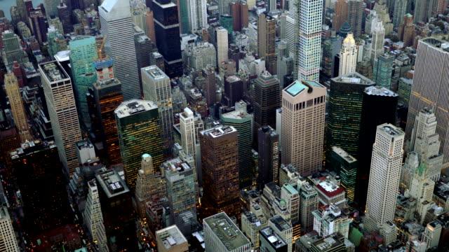 establishment shot of cityscape metropolis skyline. aerial view of new york city