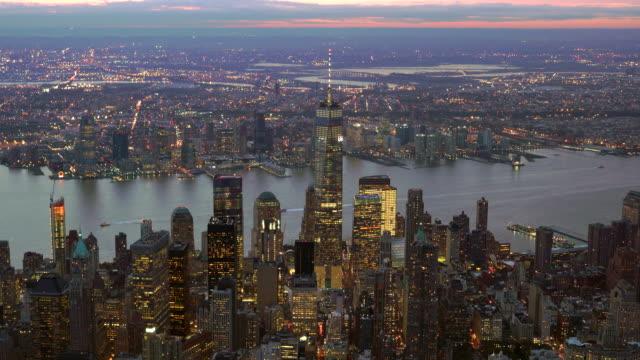establishment shot of cityscape metropolis skyline. aerial view of new york city at sunset light
