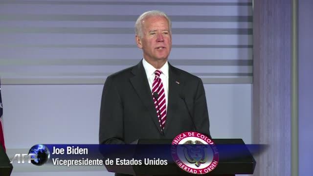 vídeos y material grabado en eventos de stock de estados unidos apoya totalmente el proceso de paz en colombia aseguro este miercoles el vicepresidente estadounidense joe biden de visita en bogota - ee.uu