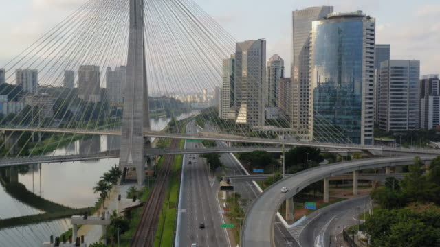 estaiada bridge in marginal pinheiros river - cable stayed bridge stock videos & royalty-free footage