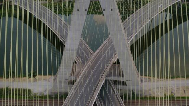 estaiada bridge in marginal pinheiros river - cable stayed bridge stock videos & royalty-free footage