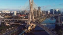 Estaiada's bridge aerial view. São Paulo, Brazil. Business center. Financial Center. Great landscape. Famous cable-stayed bridge of São Paulo. Landmark of the city.