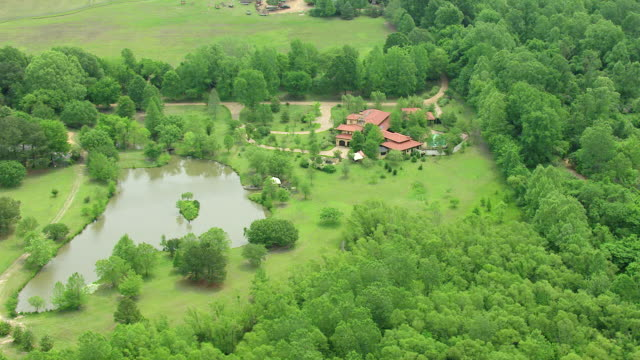 ws aerial zi estate of morgan freeman with surrounding lake and forest / mississippi, united states - morgan freeman stock videos & royalty-free footage