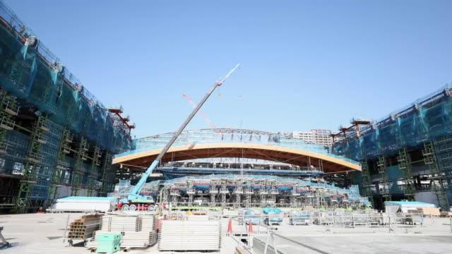 estblishing shot of the ariake gymnastics center for the 2020 tokyo olympics. - sport点の映像素材/bロール