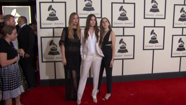 Este Haim Danielle Haim and Alana Haim the The 57th Annual Grammy Awards Red Carpet at Staples Center on February 08 2015 in Los Angeles California