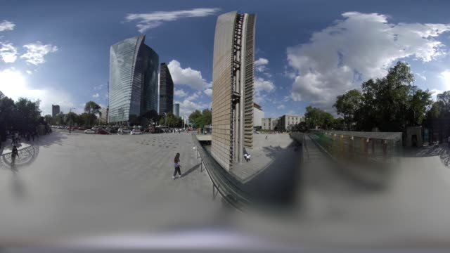 vídeos de stock e filmes b-roll de estela de luz and digital culture museum in mexico city in 360 vr - panorama equiretangular