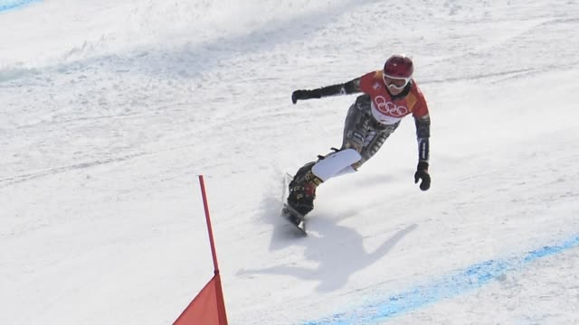 ester ledecka seals the first snowboard and skiing double victory in olympic history as she pulled off a stunning win in the women's snowboard... - slalom skiing stock videos & royalty-free footage
