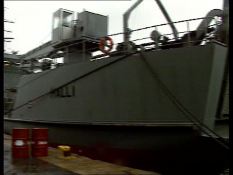 """estonia"" ferry disaster: wreck filmed; finland: turkuu: int cms munro i/c sot ext bow of ship ""halli"" r-l tx 3.10.94/naf - ferry stock videos & royalty-free footage"