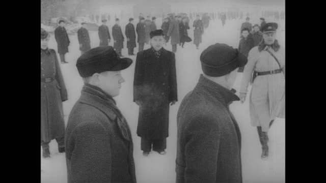 estonian youths perform drill outside in cold in front of german officers - nazism stock videos & royalty-free footage