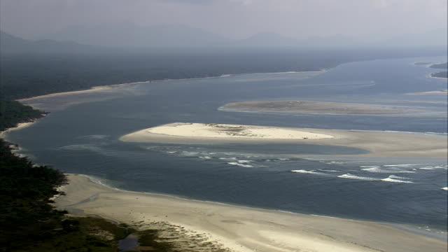 Mündung und Einlass im Parque Do Superagui-Luftaufnahme-Paraná, Brasilien
